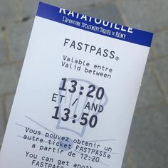 Good old paper FASTPASS. Time to experience Ratatouille again!