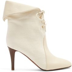 Chloé Kole suede canvas boots found on Polyvore featuring shoes, boots, ankle booties, own, shoes and boots, white, white booties, ankle boots, fold over ankle boots and short boots