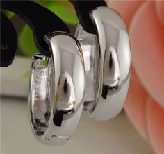 Free Shipping Promotion 1pair=2pcs Silver Hoop Earring Smooth Classic Big circle Women's jewelry Hoop Earrings TA578