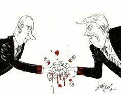 DuBus (2017-07-08) G20:  On doigts relâcher la pression  Vladimir Poutine,  Donald Trump --   Dessin de Dubus - https://www.facebook.com/duBus
