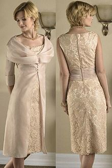 Sheath/Column Scoop Knee-length Taffeta Lace Mother of the Bride Dress