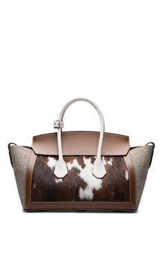 Fabric & leather medium tote bag in natural by BALLY for Preorder on Moda Operandi