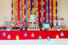 rainbow raindrops colorful play date birthday party baby shower dessert table