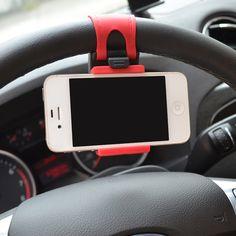 Del volante del coche de montaje soporte de goma del sostenedor del montaje del coche para iphone 6 más 4 5 5S galaxy s4 s5 gps htc mp4 del coche accesorios