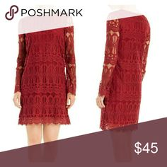 NWT Max Studio Long Sleeved Lace Dress Delicate lace in a deep red hue gives this dress its sexy and sweet contrast. Look closely at the soft textural lace along with the flirty peek-a-boo effect of the unlined sleeves and hem. For dates and events, this will be your go-to piece.  70% COTTON 30% NYLON LINED COLOR: BERRY Max Studio Dresses