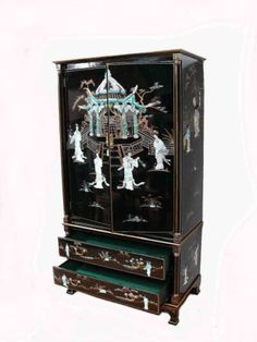 Chinese Lacquered Mother of Pearl Wardrobe Oriental Furniture | eBay£679.00