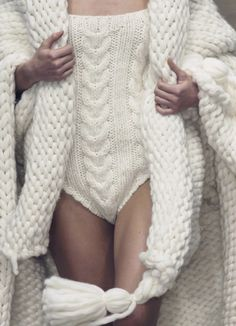 A big, wooly, cabled, knitted bathing suit with ginormous wrap? Sounds perfectly practical.