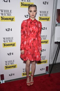 Who: Amanda Seyfried When: Why: This Valentino dress may give Seyfried full coverage (all the way up to her neck!), but it doesn't stop her from looking RED HOT. Celebrity Red Carpet, Celebrity Style, Celebrity Outfits, Amanda Seyfried Photos, French Braid Updo, While We're Young, Valentino Dress, Celebs, Celebrities
