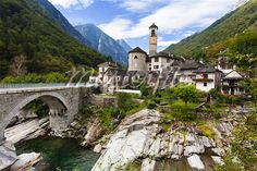 Lavertezzo and Verzasca River, Locarno, Canton of Ticino, Switzerland