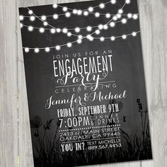 Engagement Invitation, Engagement Invite, Engagement Dinner, Wedding Invitation, Chalkboard Invitation, Nite Lights PRINTABLE, DIY
