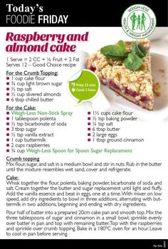 Healthy Eating Recipes, Diet Recipes, Healthy Snacks, Cooking Recipes, Recipies, Cooking Ideas, Raspberry And Almond Cake, Almond Cakes, Cake Servings