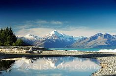 Afternoon Reflections - Mount Cook / Aoraki in Lake Pukaki, McKenzie Country, South Island New Zealand - stock photo, canvas, Fine Art Print ~ Photography Tips, Landscape Photography, New Zealand Image, New Zealand Landscape, One Day Trip, Digital Photography School, South Island, Landscape Photos, Landscape Paintings