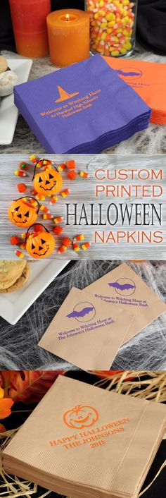 3-Ply paper cocktail napkins personalized with choice of Halloween design and up to 4 lines of custom print will be a fun decoration addition to your Halloween party drink station, appetizer bar or snack station. Use to serve doughnuts and cider for kids and Halloween cocktails for adults. These napkins can be ordered at http://myweddingreceptionideas.com/personalized_halloween_party_napkins.asp
