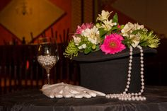 Top Hats n' Pearls! Cocktail Centerpieces