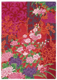 laagpolig handgeknoopt wollen kleed in kleurige dessins