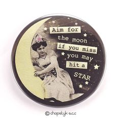 Items similar to 3 inch Pocket Mirror: Vintage Paper Moon, Aim for the Moon, If you miss you may hit a STAR on Etsy Counter Display, Paper Moon, Vintage Paper, I Shop, Mirror, Etsy, Pocket, Mirrors, Vanity