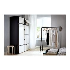 ODDA Wardrobe IKEA The casters make the bottom drawers easy to move. Adjustable hinges ensure that the doors hang straight.