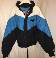 VTG 90s Carolina Panthers NFL Quilted Puffer Jacket Zipper Button Logo 7 XL EUC