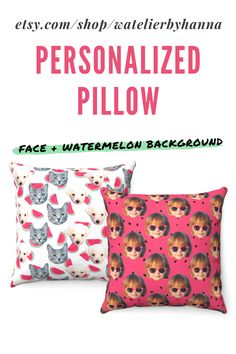 Picture Pillow Cover / Custom Pillow With Faces On Watermelon Pattern / Personalized Pillow Case With Photo / Funny Housewarming Moving Gift #Home Bad Photos, Funny Photos, Watermelon Background, Custom Pillows, Decorative Pillows, Moving Gifts, Personalized Pillow Cases, Animal Pillows, Unique Gifts
