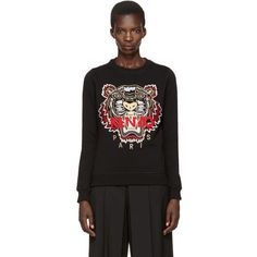 Kenzo Black Chinese New Year Tiger Pullover (335 CAD) ❤ liked on Polyvore featuring tops, sweaters, black, kenzo top, kenzo sweater, sweater pullover, graphic pullover sweater and long sleeve pullover