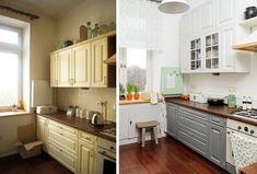 Kuchnia przed metamorfozą i po. Największa zmiana polegała na malowaniu ścian, płytek i szafek