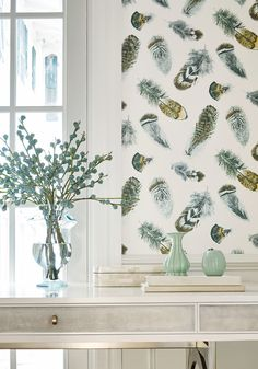 Birding from Imperial Garden Collection. Comes in five colors. Visit us at http://lelandswallpaper.com/store/Display:Show:Contact  #birds #feathers #decor #wallpaper