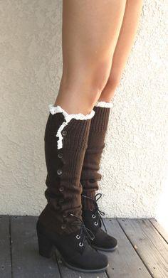 Brown Open Crochet Knit Leg Warmers Boot Socks Woman Accessory Brown Button Down Legwarmers-Lace on Etsy, $16.00