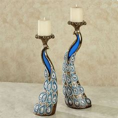 Feathered Splendor Peacock Candleholder Set with Candles