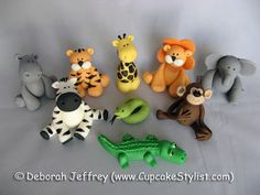 Items similar to Set of 9 Edible Fondant Safari Animal Cake and Cupcake Toppers by Cupcake Stylist on Etsy on Etsy Zoo Animal Cakes, Animal Cupcakes, Safari Animals, Animal Cakes For Kids, Wild Animals, Baby Animals, Zoo Cake, Jungle Cake, Fondant Toppers