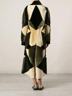 Liska Panelled Cream And Black Shearling Fur Coat