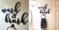 Decorate any bathroom with these modern wash and brush script cutouts. Easy to paint or glitter in any color you want to match your style.
