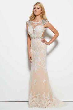 Beaded Cap Sleeve Illusion Neck Sheath Prom Dress White Lace Overlay