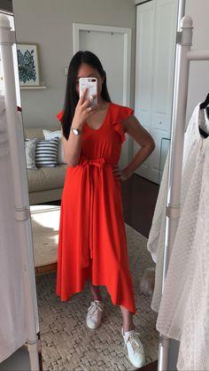 Ann Taylor Ruffle Sleeve Belted Maxi Dress, size XSP