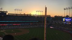 THINK BLUE: What a beautiful way to spend a Thursday. Dodgers Stadium  Dodgers v.s. NY Mets #dodgers #dodgerstadium #latergram #sunset #losangeles #baseball by dearinstadiary_