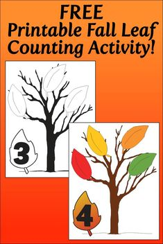 Fall Leaf Counting Activity for Kids , Counting Activities, Classroom Activities, Activities For Kids, Autumn Activities, Math Games, Kindergarten Lesson Plans, Preschool Lessons, Preschool Plans, Tree Study