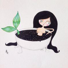 Baño de estrellas, sirena