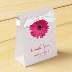 Pink Gerbera Daisy (Gerber Daisy) White Lace Personalized Wedding Thank You Favor Box. Change the bride and groom's name and the wedding date. Great for a wedding or a bridal shower. Or really any other special occasion party. You just have to change the text.