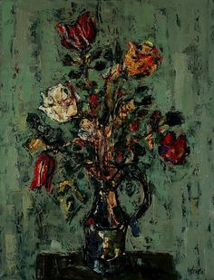 Paul Aizpiri - Fleurs, oil on canvas, 117 x 89 cm.