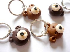 Teddy bear stitch markers set of 4 snagfree by AbsoKnittingLutely, £8.00
