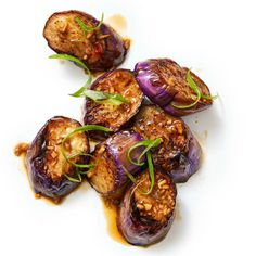 Stir-Fried Eggplant with Ginger. Japanese eggplants are long and skinny and are easy to prep. Just slice them into rounds, stir-fry in oil, and add an easy ponzu-chile sauce with plenty of ginger. Eggplant Side Dishes, Eggplant Stir Fry, Japanese Eggplant Recipes, Fried Eggplant Recipes, Japanese Recipes, Skinny Eggplant Recipe, Chinese Coleslaw, Asian Recipes, Recipes
