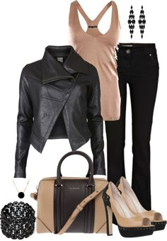 """Black and Tan"" by averbeek on Polyvore  (looks pink and black to me,,either way would be awesome!"