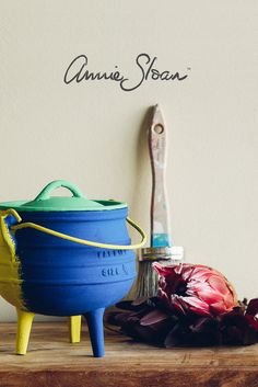 Metal Potjie pot painted using Annie Sloan Chalk paint. Colours: English Yellow, Napoleonic Blue and Florence