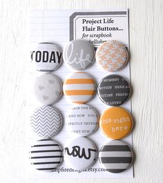 Project Life Flair Buttons or Badges  Midnight by CampfireDesigns, $8.50