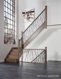 A true statement staircase, this contemporary steel design brings century style to the room. The unique balustrade design has been constructed out of strong steel spindles set into a solid wood base for a modern, eye-catching result. Staircase Metal, Luxury Staircase, Staircase Railings, Banisters, Staircase Ideas, Metal Stair Spindles, Balustrade Design, Steel Balustrade, Balustrades