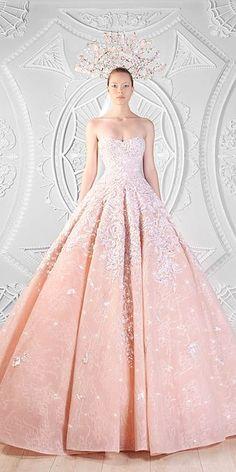 disney peach ball gown wedding dresses via rami kadi - Deer Pearl Flowers / http://www.deerpearlflowers.com/wedding-dress-inspiration/disney-peach-ball-gown-wedding-dresses-via-rami-kadi/