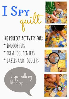 """I Spy Quilt- What a great activity for preschoolers! I can see this being used in a """"quiet center"""""""
