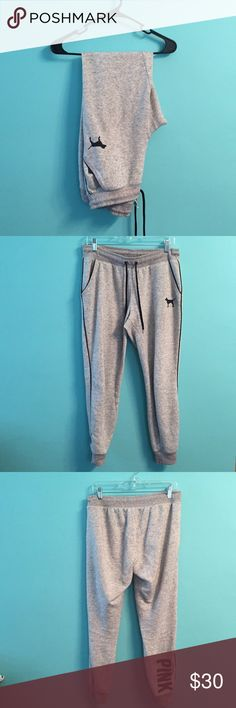 Victoria's Secret jogger sweatpants These are in really good condition. I got them in a trade and realized I'm probably never going to wear them. Have some slight pilling inbetween the legs. Size small but I wear an 8 in jeans and these fit me. PINK Victoria's Secret Pants Track Pants & Joggers