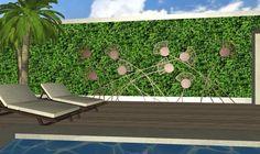 decoraciones fantasias para jardines de lujo - adornos en hierro oxidado sobre jardin vertical
