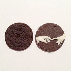 Incredible Oreo Cream Art by Tisha Cherry Gray Aesthetic, Aesthetic Drawing, Oreo Cream, The Creation Of Adam, 8th Grade Art, Cream Art, Food Artists, Creative Artwork, Photo Illustration