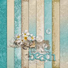 FREE cheyOkota digital scraps: Teal Beach Vacation freebie paper